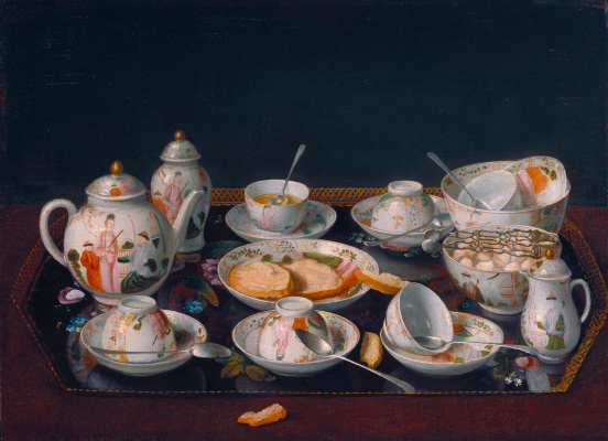 Jean-Etienne Lyotard. Still life with tea set