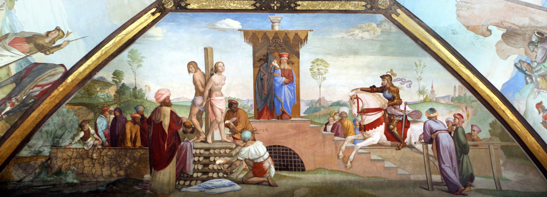Johann Friedrich Overbeck. Murals of the villa Massimo, Tasso Hall: Clorinda is saved by Sophronia and Olindo
