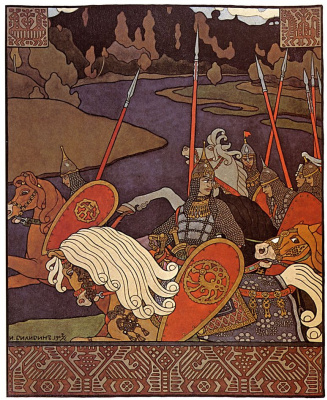 "Ivan Yakovlevich Bilibin. Volga with a team. Illustration for the epic ""Volga"""