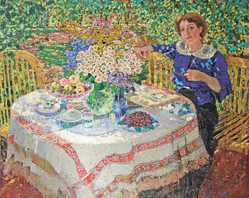 Alexander Mikhailovich Gerasimov. In the garden. Portrait Of Nina Gilyarovskii