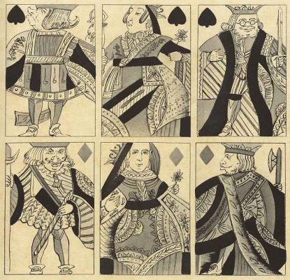 Альфред Кроуквилл. Карикатура в виде игральных карт: Валет, дама, король пик и валет, дама, король бубей