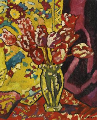 Луи Вальта. Тюльпаны в прозрачной вазе