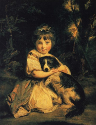 Joshua Reynolds. Portrait of Mrs Bowles with a dog