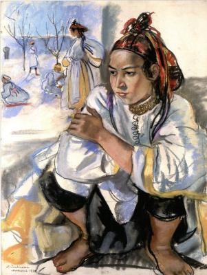 Zinaida Serebryakova. A young Moroccan sitting