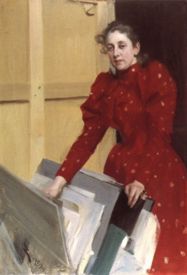 Anders Zorn. Portrait of Emma in the Paris Studio