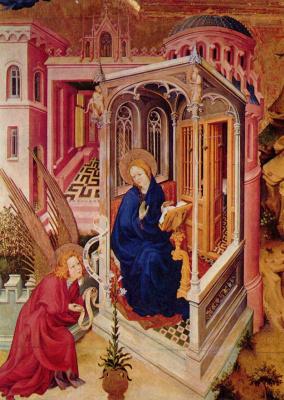 Мельхиор Брудерлам. Алтарь Филиппа Смелого, герцога Бургундского, левая створка: Благовещение и Встреча Марии и Елизаветы, деталь
