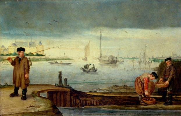 Arent Arentz. Fishermen near the castle Muiderslot