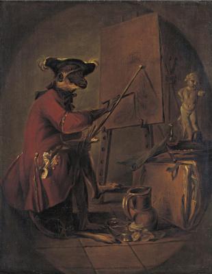 Жан Батист Симеон Шарден. Обезьяна-художник (овал)