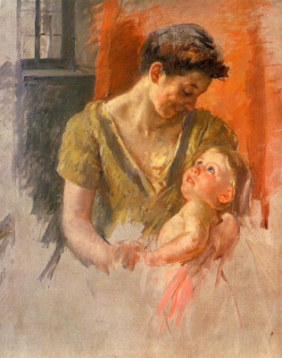 Mary Cassatt. Mother and child smiling at each other