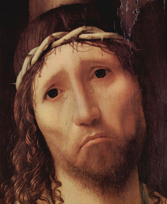 Antonello da Messina. ECCE Homo, detail: Face of Christ