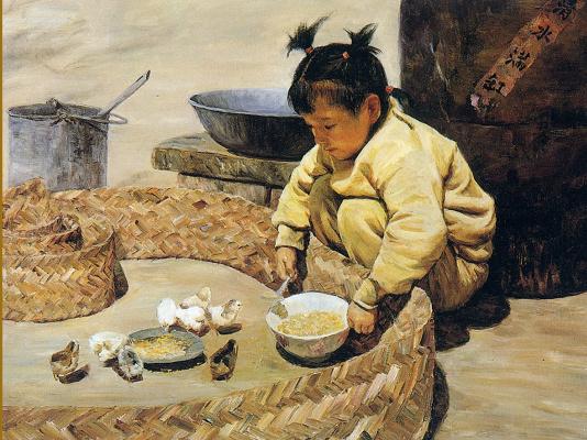 Цзян Хуэй. Кормление цыплят