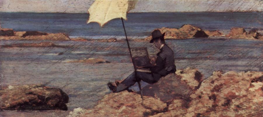 Giovanni Fattori. Silvestro Lega painting in Riva al Mare