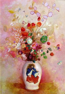 Bouquet of flowers in a Japanese vase