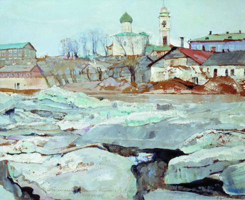 Isaac Brodsky. Ice drift in Pskov