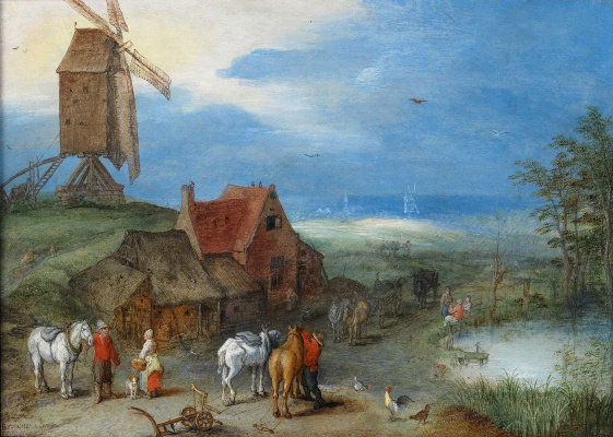 Jan Bruegel The Elder. Landscape with windmill, people, and horses in the courtyard