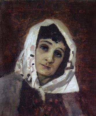 Mikhail Vasilyevich Nesterov. Portrait of Maria Konstantinovna Zankovetska in the role Naimychka. Etude