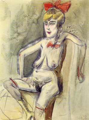 Otto Dix. Prostitute - a Girl with a red bow