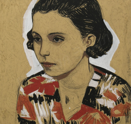 Екатерина Валерьяновна Раскина. Портрет девушки. 1960-е. графитный карандаш.