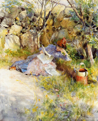 Carl Larsson. A lady reading a newspaper