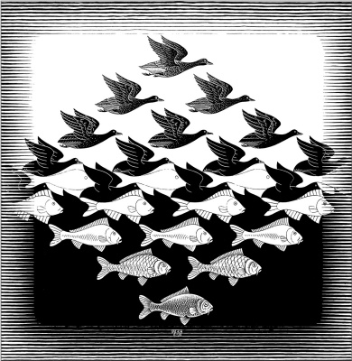 Maurits Cornelis Escher. Sky and water І