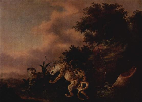 Wenzel Ignaz Prash. Leopard attacking wild boar