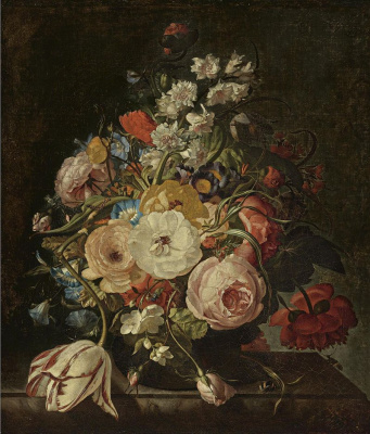 Rachelle Ruysch. Still life with color in a vase on a stone shelf
