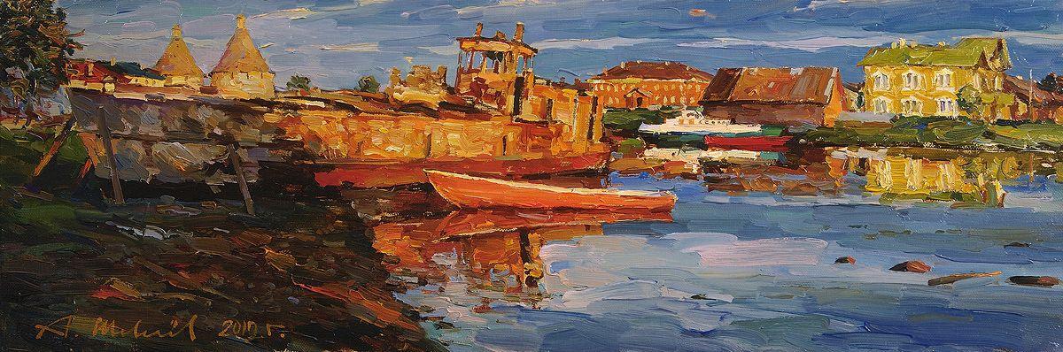 Alexander Shevelyov. Solovki.Evening etude.Oil on canvas 21,5 # 63,7 cm 2011