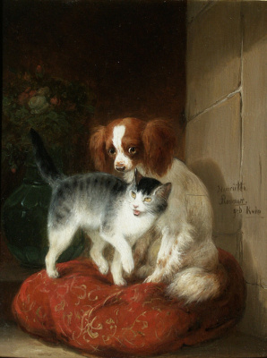 Henrietta Ronner Knip. Dog and cat on the pillow