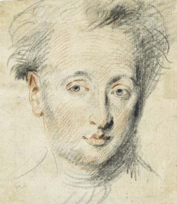 Antoine Watteau. Head of a man