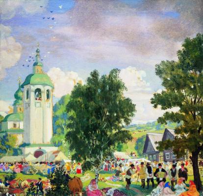 Boris Mikhailovich Kustodiev. Rural holiday. Sketch