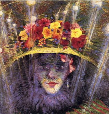 Умберто Боччони. Девушка в шляпе с цветами