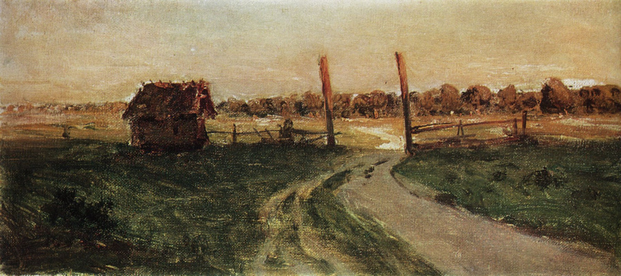 "Isaac Levitan. Landscape with a hut. Study for the painting ""Summer evening"""