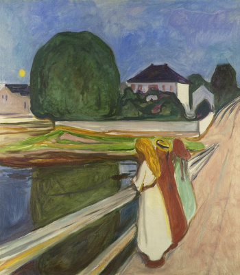 Edvard Munch. White night. Asgardstrand (Girl on the bridge)