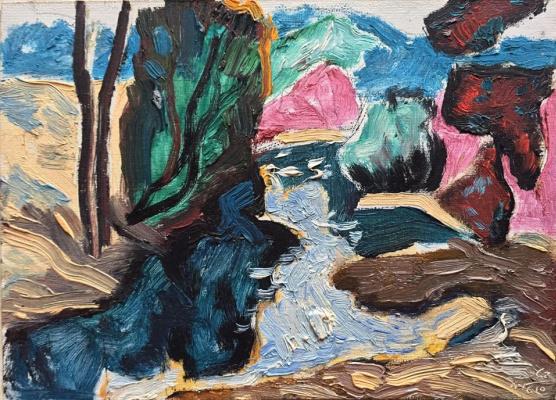 Mikhail Mikhailovich Gavrilov. Avant-garde landscape, by the river.