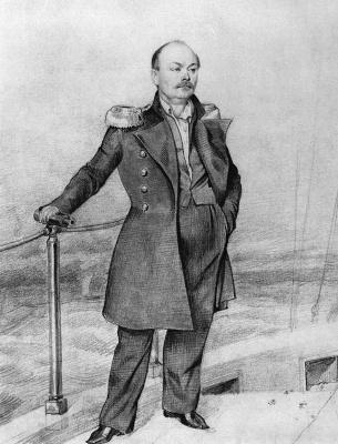 Павел Андреевич Федотов. Портрет С. Д. Шишмарева на борту корабля
