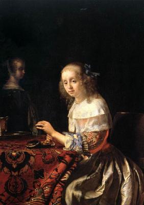 Франц ван Мирис Старший. Девушка, нанизывающая бусы