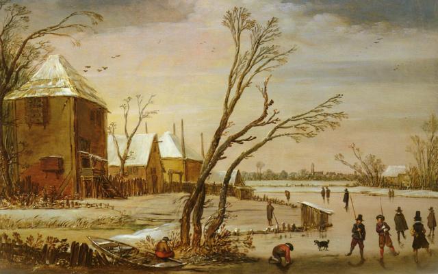 Даниэль ван Хейл. Зимний пейзаж с конькобежцами на замерзшей реке