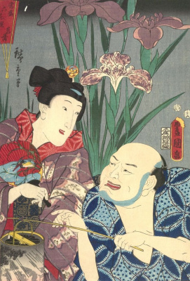 """Utagawa Kunisada. Iris: the Actors Bando Moremon I and Iwai, Colesburg III. A series of """"featured plants and contemporaries, blooming in full force"""""""