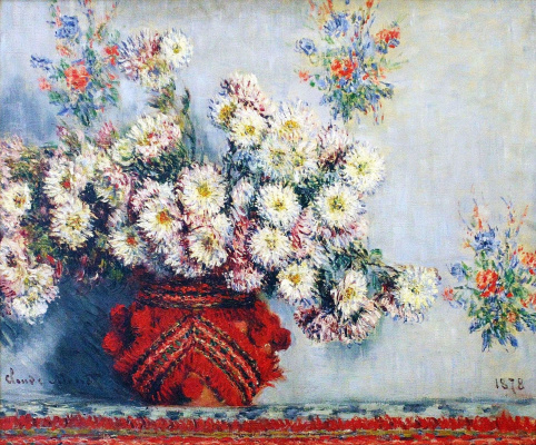 Claude Monet. Vase with chrysanthemums
