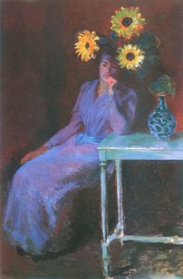 Клод Моне. Портрет Сюзанны Ошеде с подсолнухами