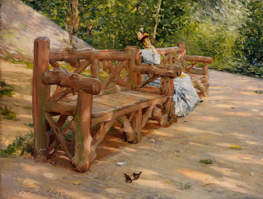 William Merritt Chase. An idle hour on a bench in Central Park