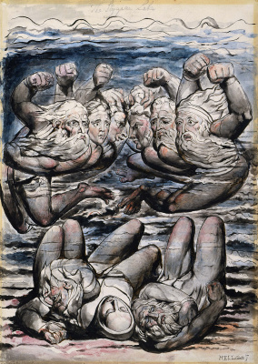 """William Blake. Stygian swamp with fighting in anger sinners. Illustrations for """"the divine Comedy"""""""