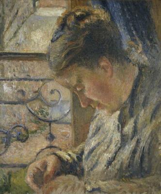 Camille Pissarro. Madame Pissarro sewing near a window