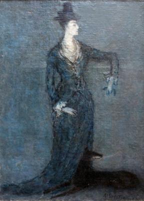 Михаил Ксенофонтович Соколов. Портрет неизвестной с собакой