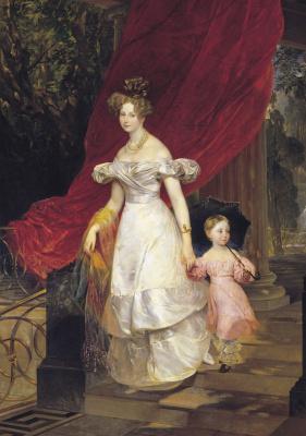 Karl Pavlovich Bryullov. Portrait of Grand Duchess Elena Pavlovna with daughter Maria
