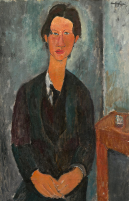 Amedeo Modigliani. Portrait of Chaim Soutine seated at a table