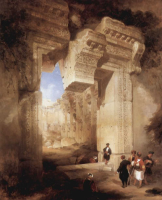 David Roberts. The entrance to the Golden temple in Baalbek
