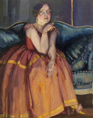 Constantin Somov. Woman, Smoking on the sofa