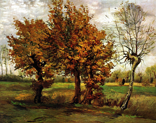 Vincent van Gogh. Autumn landscape with four trees