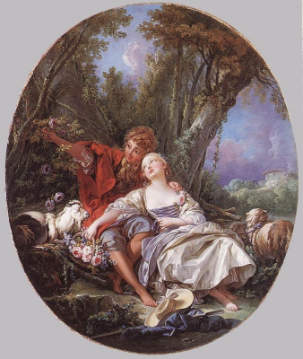 Francois Boucher. Shepherd and shepherdess at rest